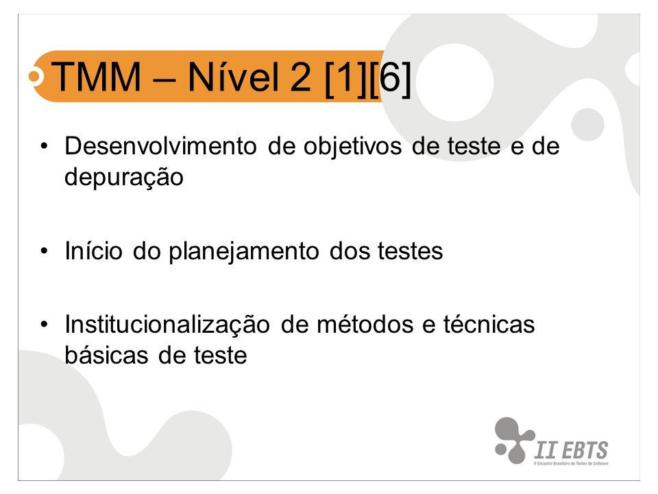 TMM – Nível 2 [1][6] Desenvolvimento de objetivos de teste e de depuração. Início do planejamento dos testes.